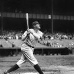 Babe Ruth hitting during a game