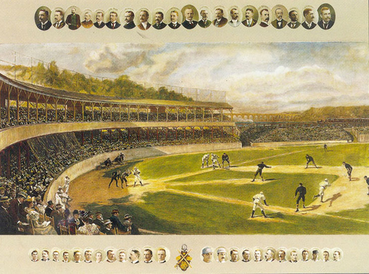 Depiction of a baseball game in early years