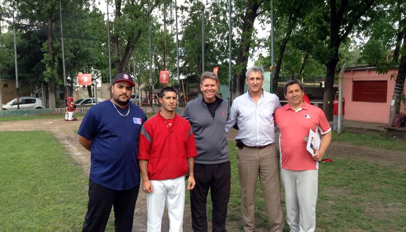 Joel Bradley with Argentina baseball coaches