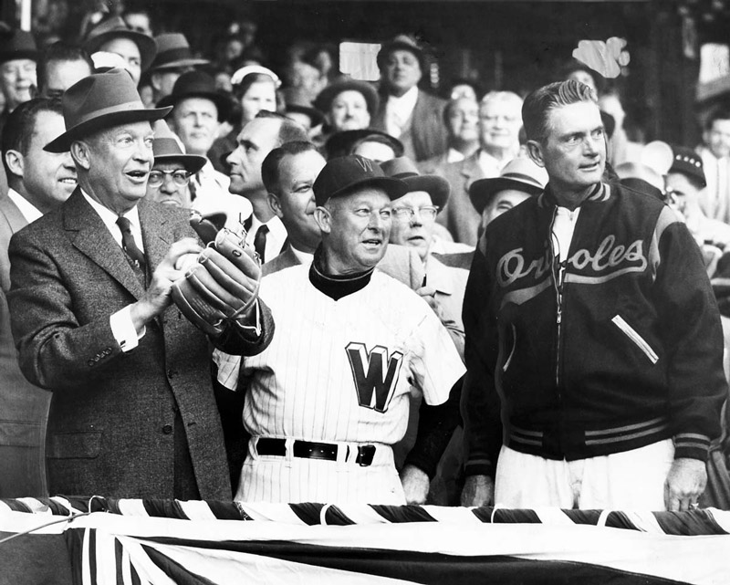 President Eisenhower with Chuck Dressen and Paul Richards at 1957 baseball game