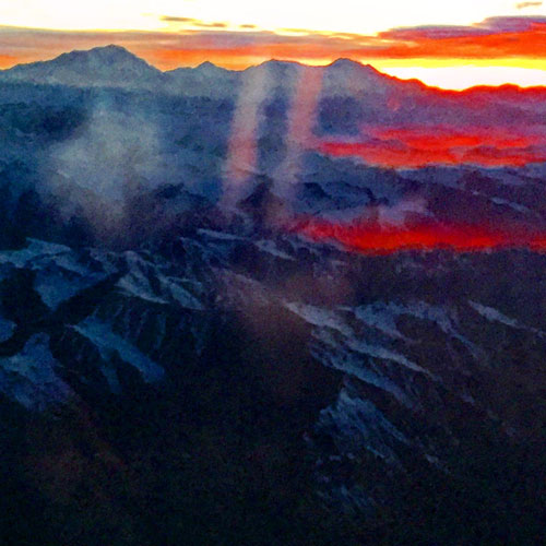 Sunrise over the Andes Mountains